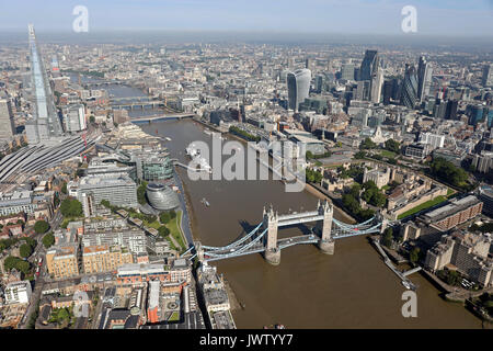 aerial view of Tower Bridge, Shard, Thames, & City of London skyline Stock Photo