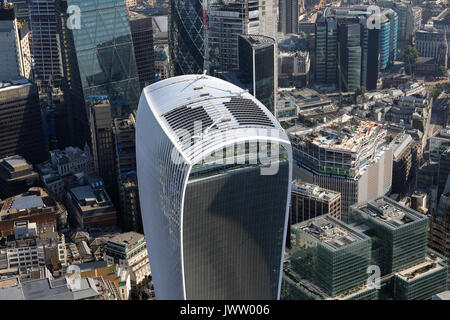 aerial view of the top of the Walkie Talkie building in the City of London, UK - Stock Photo
