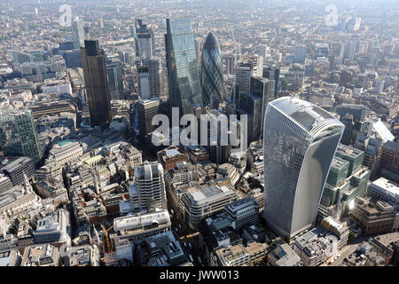 aerial view of The City of London - Stock Photo