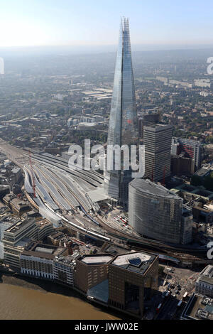 aerial view of the Shard & London Bridge Station - Stock Photo