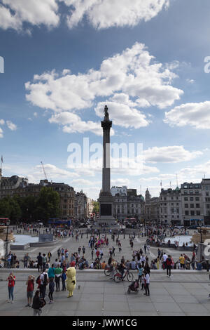 River Thames, Embankment,London, UK. 13 August 2017. UK Weather: Warm sunny day with light cloud over Traflgar Square.Central - Stock Photo