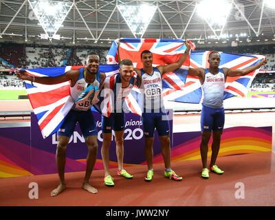 Nethaneel Mitchell Blake, Daniel Talbot, Adam Gemili & Chijindu Ujah 4 X100 Metres World Athletics Championships - Stock Photo