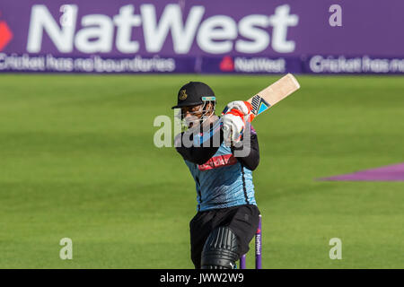London, UK.13 August 2017. Chris Jordan batting for Sussex Sharks against Surrey in the NatWest T20 Blast match - Stock Photo