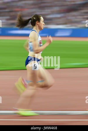 London, UK. 13th Aug, 2017. Laura Muir of Great Britain, compete in 5000 meter final in London at the 2017 IAAF - Stock Photo