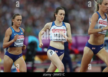 London, UK. 13th Aug, 2017.  Eilish McColgan, Great Britain, leads Laura Muir, Great Britain, and Shelby Houlihan, - Stock Photo