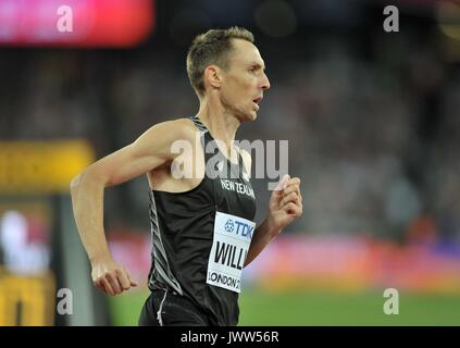 London, UK. 13th August, 2017. NicholasWILLIS (NZL) in the mens 1500m final. IAAF world athletics championships. - Stock Photo