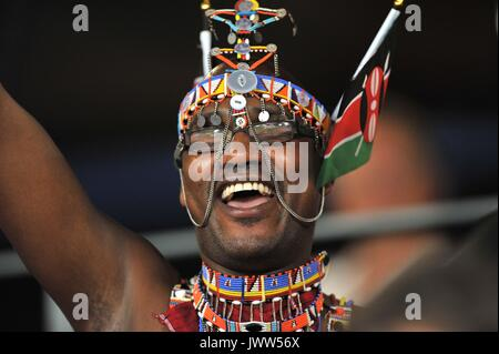 London, UK. 13th August, 2017. An african supporter. IAAF world athletics championships. London Olympic stadium. - Stock Photo