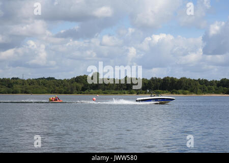 Chasewater Country Park, Staffordshire, UK. 13th Aug, 2017. UK Weather. Very warm and sunny Sunday morning with plenty of people out and about enjoying the water with various watersports. Credit: Daniel James Armishaw/Alamy Live News