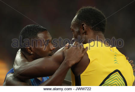 London. 6th Aug, 2017. American athlete Justin Gatlin wins the men's 100 meters title at the World Athletics Championships - Stock Photo