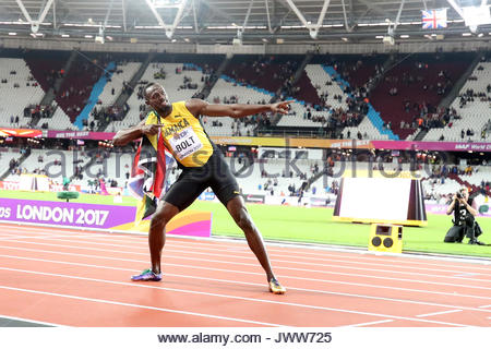 London, UK. 06th Aug, 2017. Usain Bolt of Jamaica loses championship in his final run in the men's 100m final during - Stock Photo