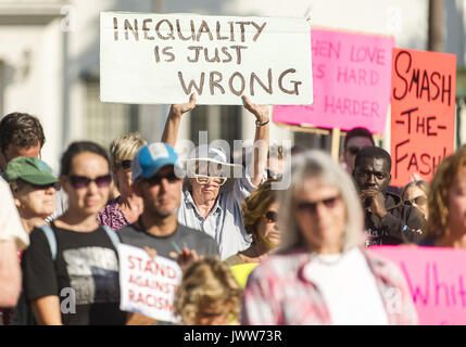 Santa Barbara, California, USA. 13th Aug, 2017. A solidarity rally is held in Santa Barbara, one of hundreds of - Stock Photo