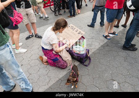 New York, United States. 13th Aug, 2017. New York, NY USA - August 13, 2017: Few hundreds socialist demonstrators - Stock Photo