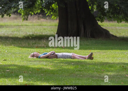London, UK. 14th Aug, 2017. People enjoying the sunshine and warm weather conditions in Kensington Gardens London - Stock Photo