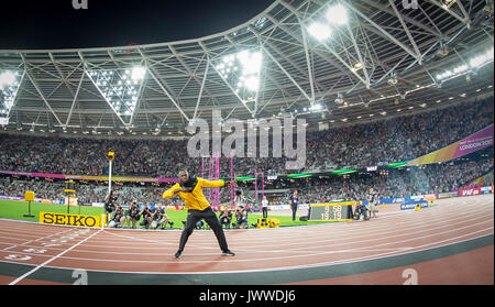 London, UK. 13th Aug, 2017. Usain BOLT of Jamaica bids farewell to the Stadium as he retires from 100m & 200m events - Stock Photo