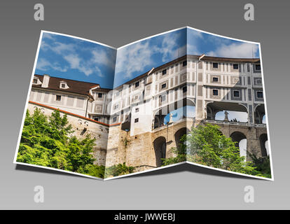 The cloak bridge is a multistoried bridge that spans the moat of the Castle, Cesky Krumlov, Jihocesky kraj, Czech - Stock Photo