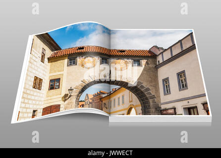 The connecting passage over the Latran alley between the castle and the monastery,Cesky Krumlov, Bohemia, Jihocesky - Stock Photo