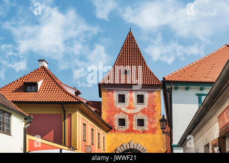 The Budejovicka gate was built from 1598 to 1602. It is a city gate still preserved today in Cesky Krumlov, Bohemia, - Stock Photo
