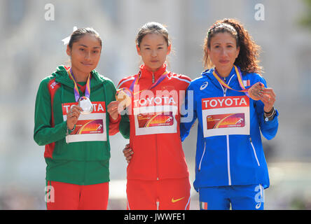 China's Jiayu Yang (centre, gold), Mexico's Maria Guadalupe Gonzalez (left, silver) and Italy's Antonella Palmisano - Stock Photo