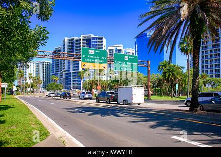 Bayfront Drive in downtown Sarasota FL, USA - Stock Photo