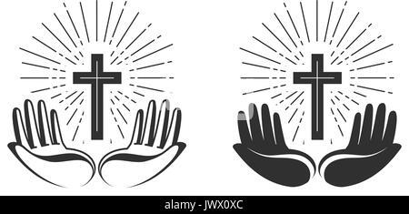 Religion concept. Bible, church, faith, pray icon or symbol. Vector illustration - Stock Photo