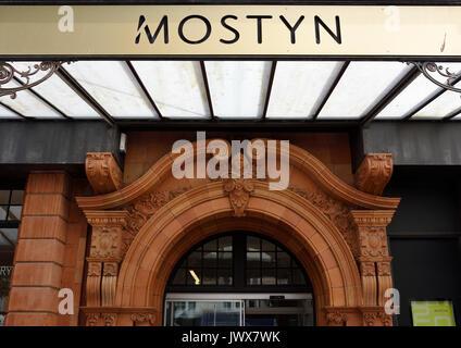 Oriel mostyn art gallery terracotta arched doorway detail, Llandudno north wales uk - Stock Photo