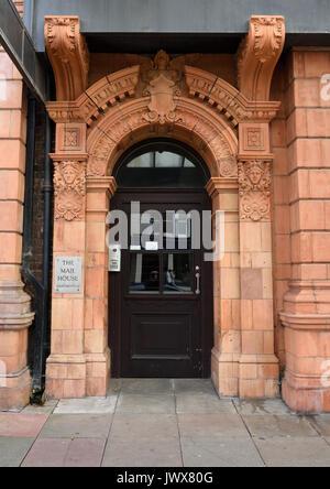 Oriel mostyn art gallery terracotta arched doorway, Llandudno north wales uk - Stock Photo