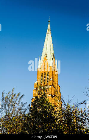 Tower of the Cathedral in Schleswig, Northern Germany, Turm des Domes zu Schleswig, - Stock Photo