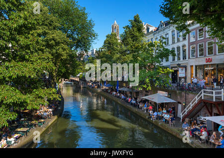Restaurant alongside the Oudegracht (Old Canal), Utrecht, Netherlands - Stock Photo