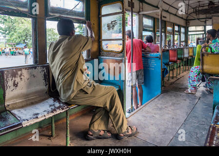 A photo taken from inside of tram in city of Calcutta, India - Stock Photo