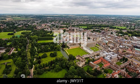Aerial View Image Photo of Cambridge University and Colleges, United Kingdom - Helicopter Drone Shot - Stock Photo