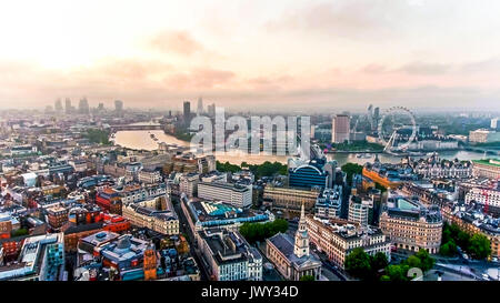 Aerial View Photo of Beautiful Sunrise at the City of London Capital City Skyline Famous European Destination in - Stock Photo