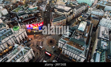 Aerial View Image Photo of Iconic Famous Landmark Square Piccadilly Circus Orbiting Around Soho and Leicester Square - Stock Photo