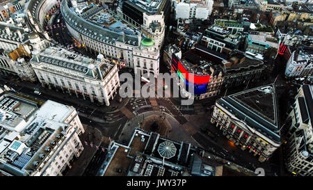 Aerial View Piccadilly Circus in London, England. The Famous Landmark Square in Central London feat. New Commercial - Stock Photo
