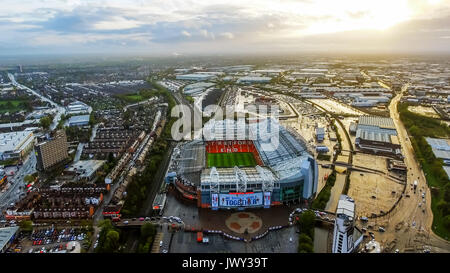 Aerial View Image Photo of Iconic Manchester United Stadium Arena Old Trafford Football Ground Flying Over feat - Stock Photo