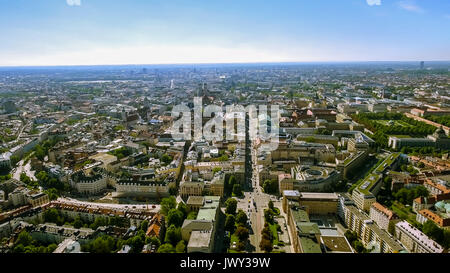 Aerial Bird Eye View Photo of Munich Cityscape feat City Center and Town Hall with Gothic Iconic Towers, Central - Stock Photo