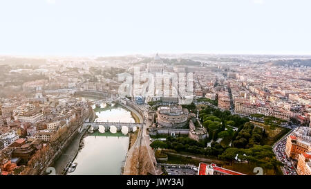 The New Rome and Vatican City Image Photo Aerial View in Historical Capital Rome with Landmarks around River Tiber - Stock Photo