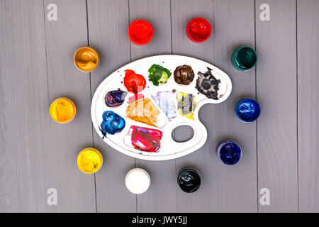 Palette and paints - Stock Photo