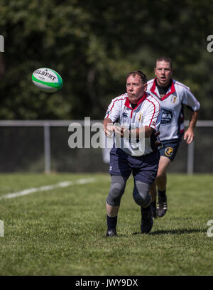 The Bald Eagles vs. Chico Mighty Oaks at the Rugby Sevens Tournament in Mount Shasta, California. - Stock Photo