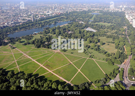 aerial view of Hyde Park in London, UK - Stock Photo
