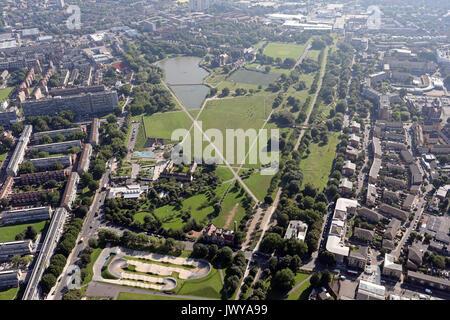 aerial view of Burgess Park, London SE5, UK - Stock Photo