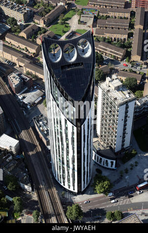 aerial view of the Strata Building in London SE1, UK - Stock Photo