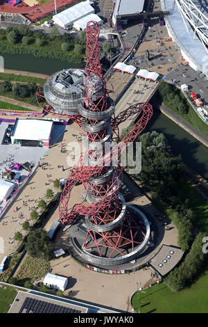 aerial view of Anish Kapoor sculpture the ArcelorMittal Orbit at the Queen Elizabeth Park London, UK