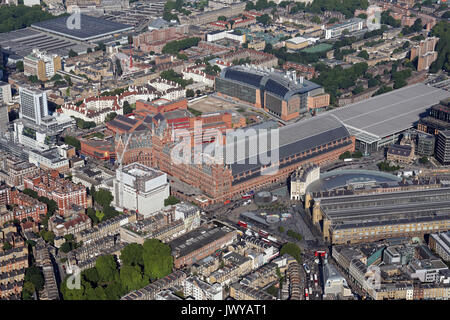 aerial view of St Pancras International Station, London, UK - Stock Photo