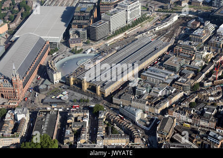 aerial view of Kings Cross Railway Station, London, UK - Stock Photo