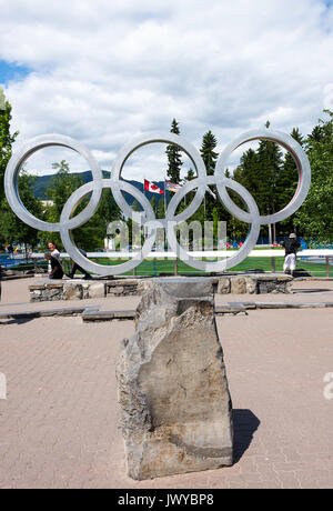 The Symbol of Five Olympic Rings for The Winter Olympic Games of 2010 in the Town of Whistler British Columbia Canada - Stock Photo