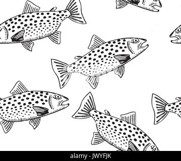 Trout Pen and Ink Drawing Sufrace Repeating Pattern - Stock Photo