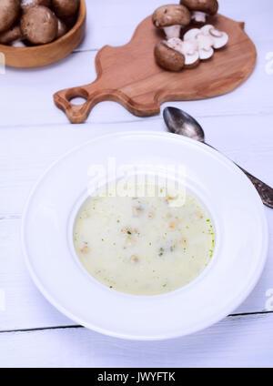 Cream Mushroom Soup In A White Round Plate Stock Photo