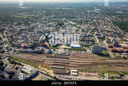 Overview Dortmund main station Dortmund, ramparts, Dortmund, Ruhr area, North Rhine-Westphalia, Germany, Dortmund, - Stock Photo