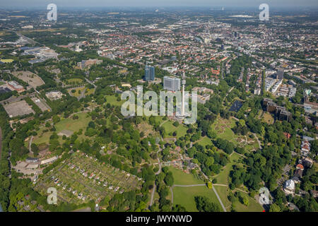 Westfalen Park restaurant on the water basins and flower beds, flower beds, Dortmund, Ruhr area, North Rhine-Westphalia, - Stock Photo