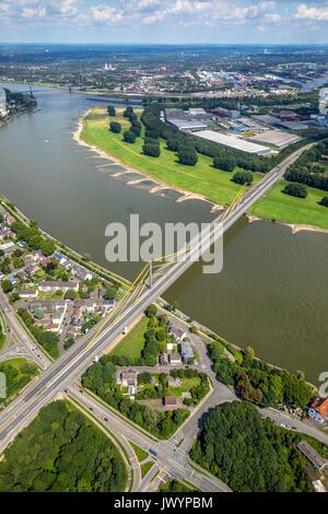 Locked A40 bridge, blocked Ruhrschnellweg, Rhine overpass, road infrastructure, roads, bridge Neukamp, motorway - Stock Photo
